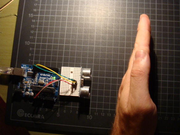 Sensor de distância sendo testado