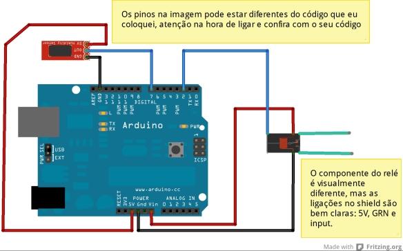 Esquema de ligação do arduino, o relé e o sensor de temperatura e umidade